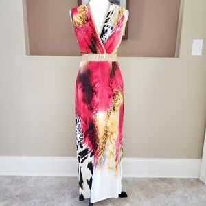 Boston Proper Animal Print Maxi Dress
